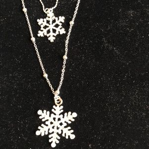 Betsey Johnson snowflake double necklace